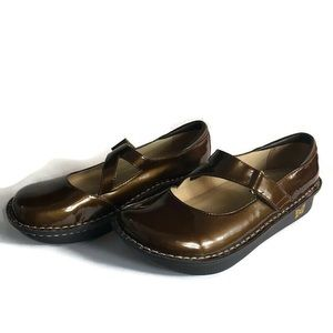 Alegria Brown Day-126 Patent Leather Mary Janes